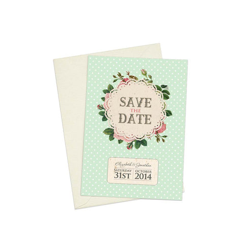 Polkadots & Roses A6 Save The Date card & Envelope
