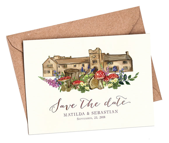 Woodland Venue A6 Save The Date card and envelope
