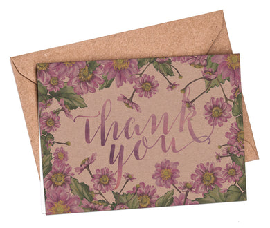Thank You Cards: Pink Flowers