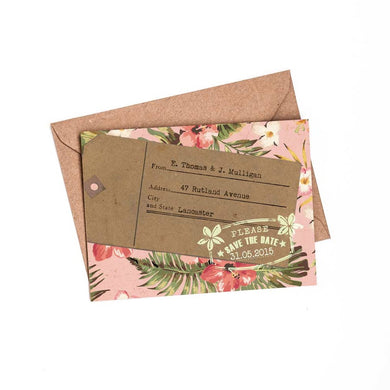 Tropical Travel A6 Save The Date card & Envelope
