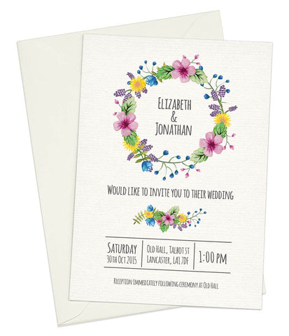 Watercolour Flowers A5 Flat Invitation