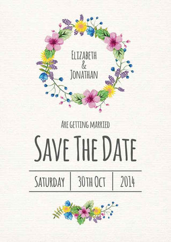 Watercolour Flowers A6 Save The Date card & Envelope