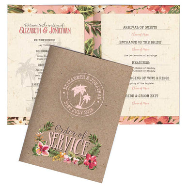 Tropical Travel A6 Folded Order of Service Card