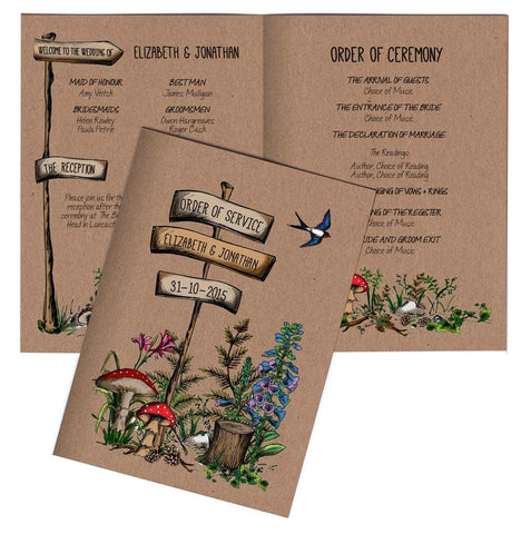 Woodland Walk A6 Folded Order of Service Card