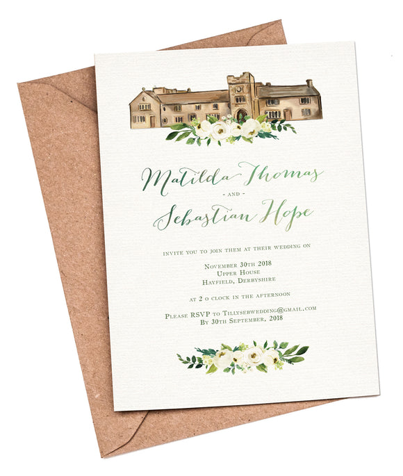 Watercolour Venue A5 Flat Invitation