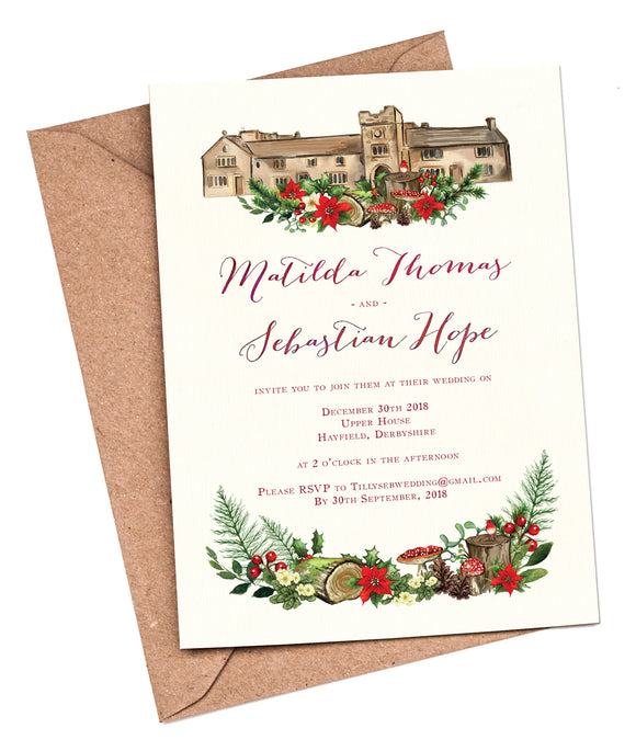 Winter Woodland Venue A5 Flat Invitation