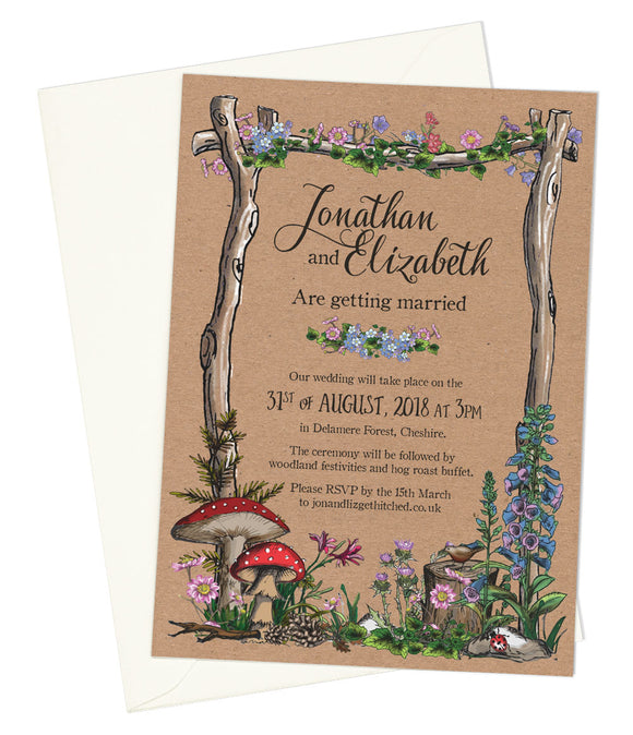 Woodland A6 Single-sided Invitation (kraft background)