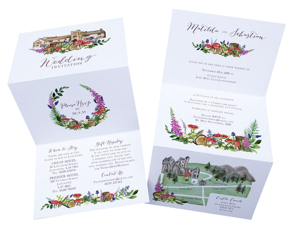 Woodland Venue A6 Bi-fold concertina Invitation