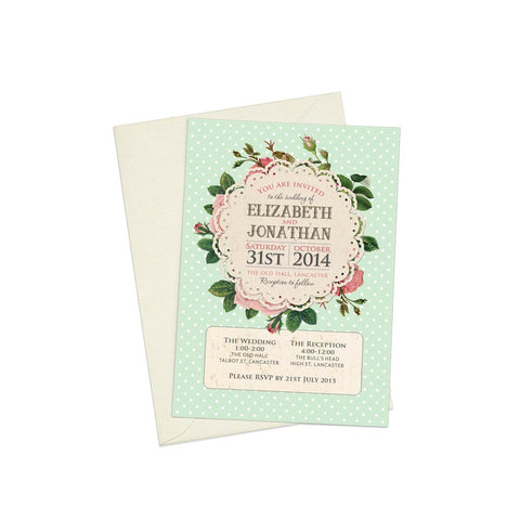 Polkadots & Roses A6 Evening Invitation