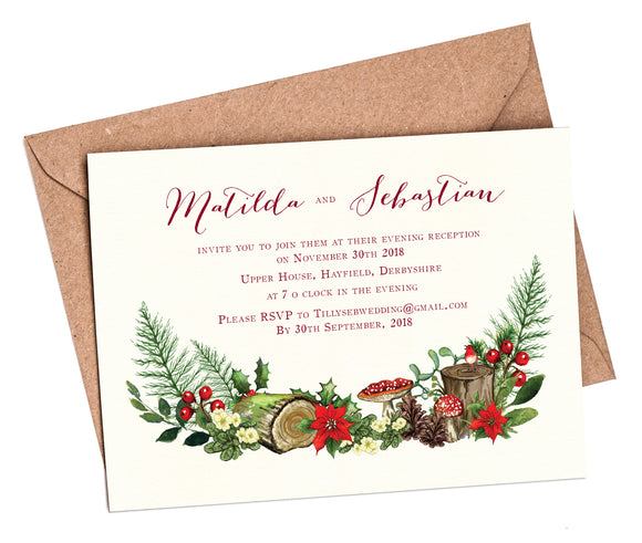 Winter Woodland Venue A6 Flat Invitation