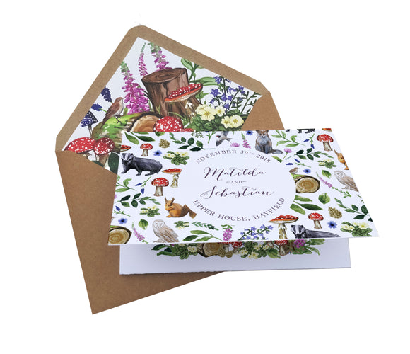 Woodland Animals A6 Tri-fold concertina Invitation with cut-off RSVP card