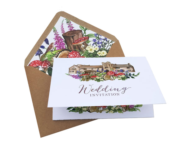 Woodland Venue A6 Tri-fold concertina Invitation with map and RSVP cut-off