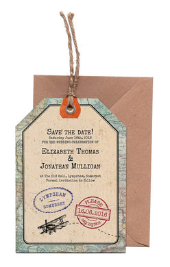 Vintage Travel A6 Save The Date Luggage Tag & Envelope