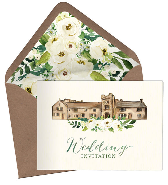 Watercolour Venue A6 Folded Landscape Invitation