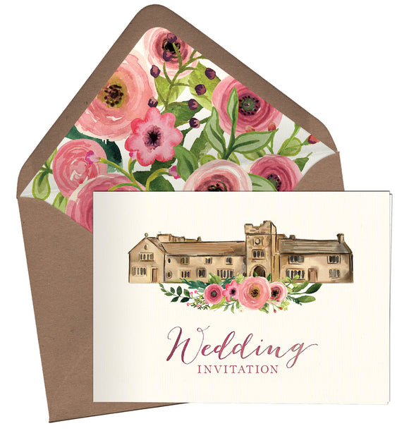 Watercolour Venue (Pink Flowers) A6 Folded Landscape Invitation