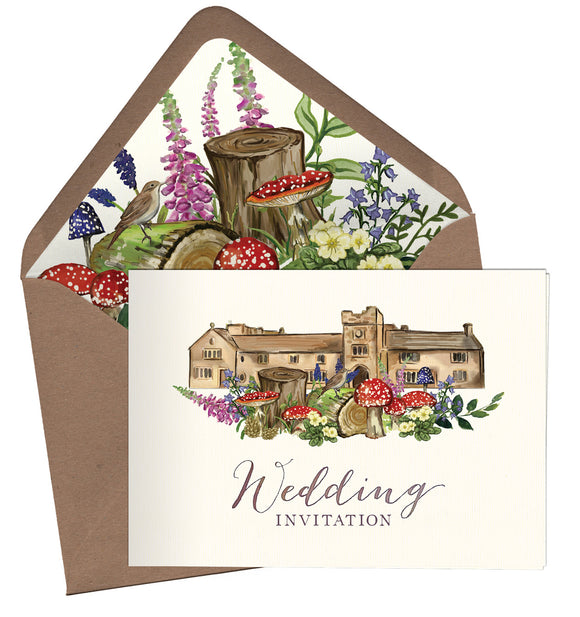 Woodland Venue A6 Folded Landscape Invitation