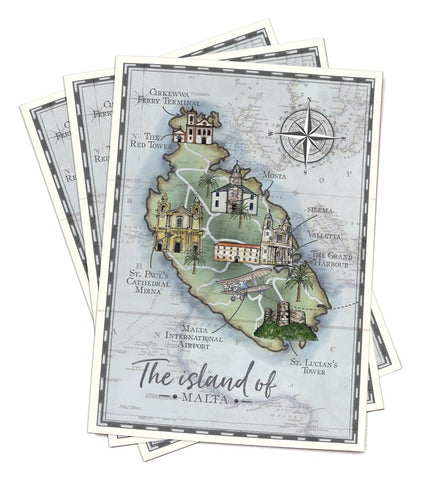 A5 paper folded map to match NEW Vintage Travel Passport (3 buildings included)