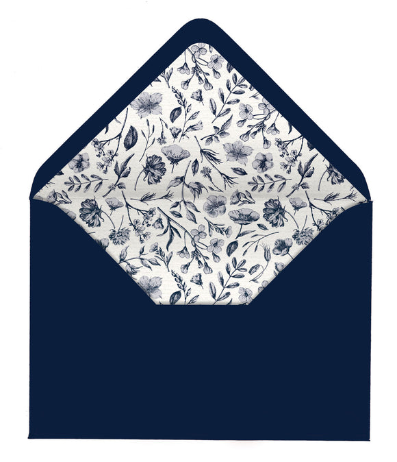 Botanical Navy & White Envelope Liners