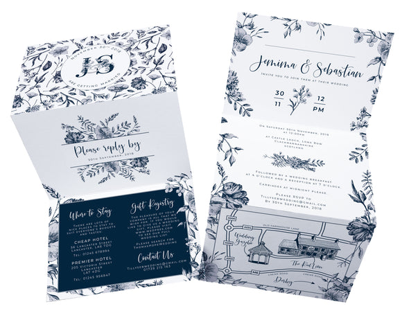 Navy & White Botanical A6 Bi-fold concertina Invitation
