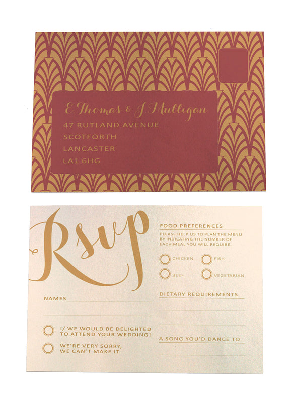 Gold Calligraphy A6 RSVP Postcard