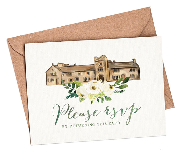Watercolour Venue A7 RSVP card and envelope