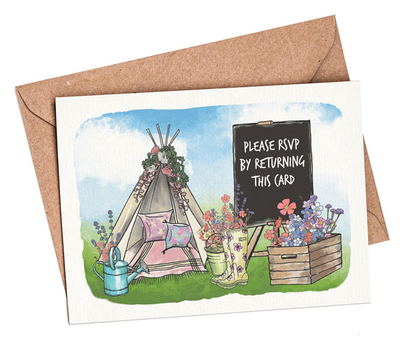 Wedding Festival A7 RSVP card and envelope