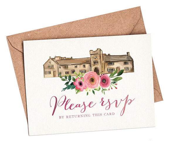 Watercolour Venue (Pink Flowers) A7 RSVP card and envelope