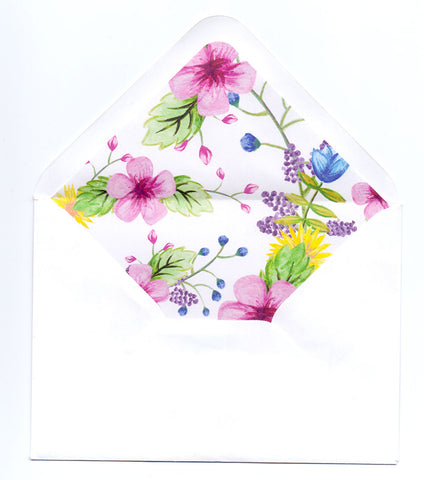 Watercolour Flowers Envelope Liners