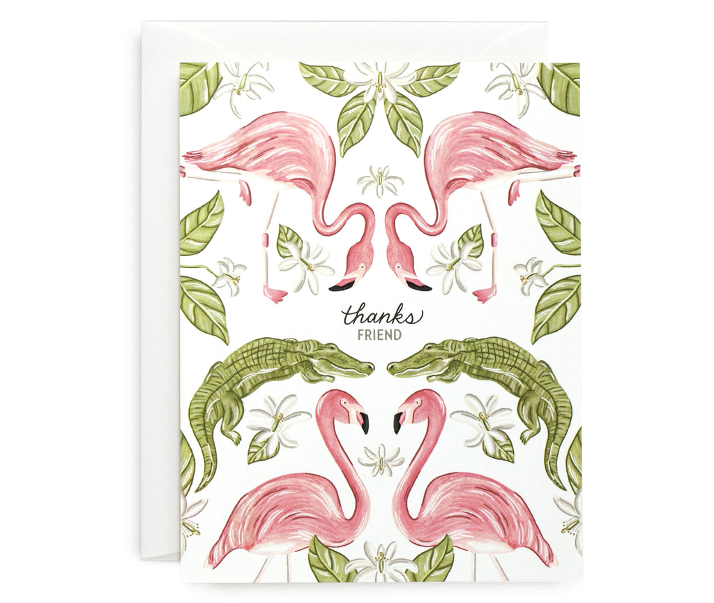 Flamingo Gator Thank You Card