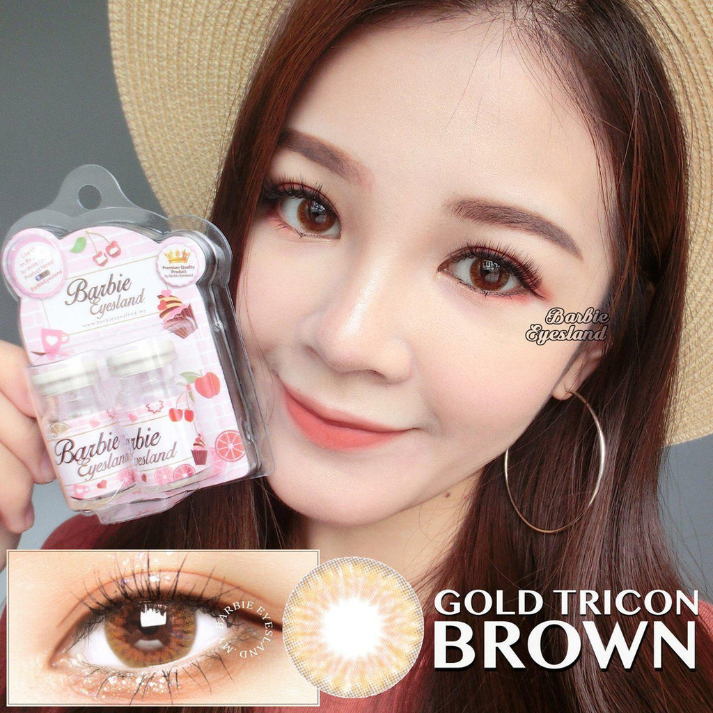 Gold Tricon Brown 14mm (14.2mm)-Contact Lenses-Barbie Eyesland Contact lens