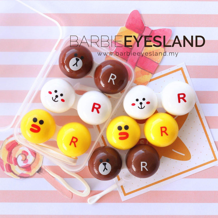3set of 3 in 1 Line Design Travel Lens Case Set-Premium Contact Lenses-Barbie Eyesland Contact lens