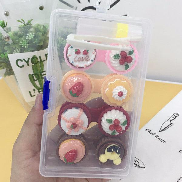 2 Set of Cupcake Design Travel Lens Case Set Contact Lens Malaysia Online Murah- Barbie Eyesland