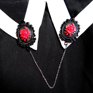 Edgar Allan Poe poetry literary gifts, black gothic rose collar clips