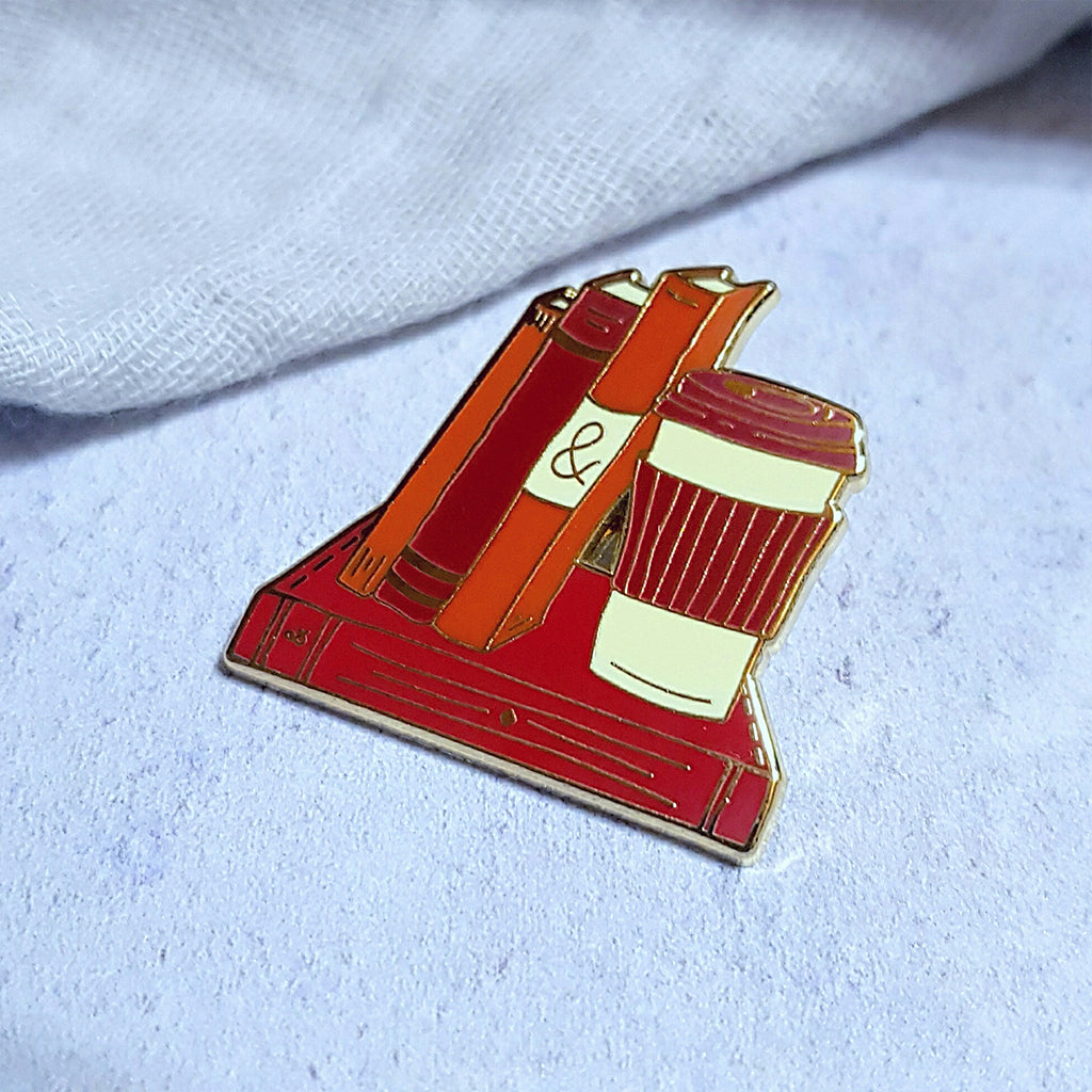 Books and Coffee Enamel Pin