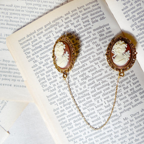 Gold Cameo Collar Clips