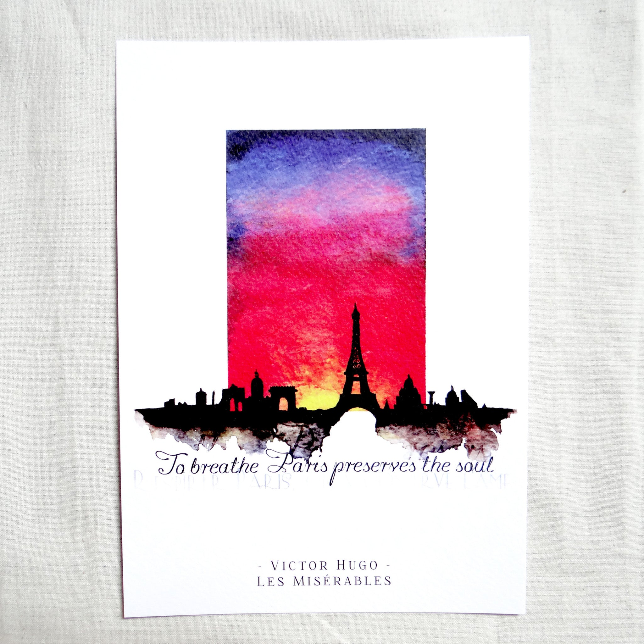 victor hugo les miserables wall art print, book quote home decor