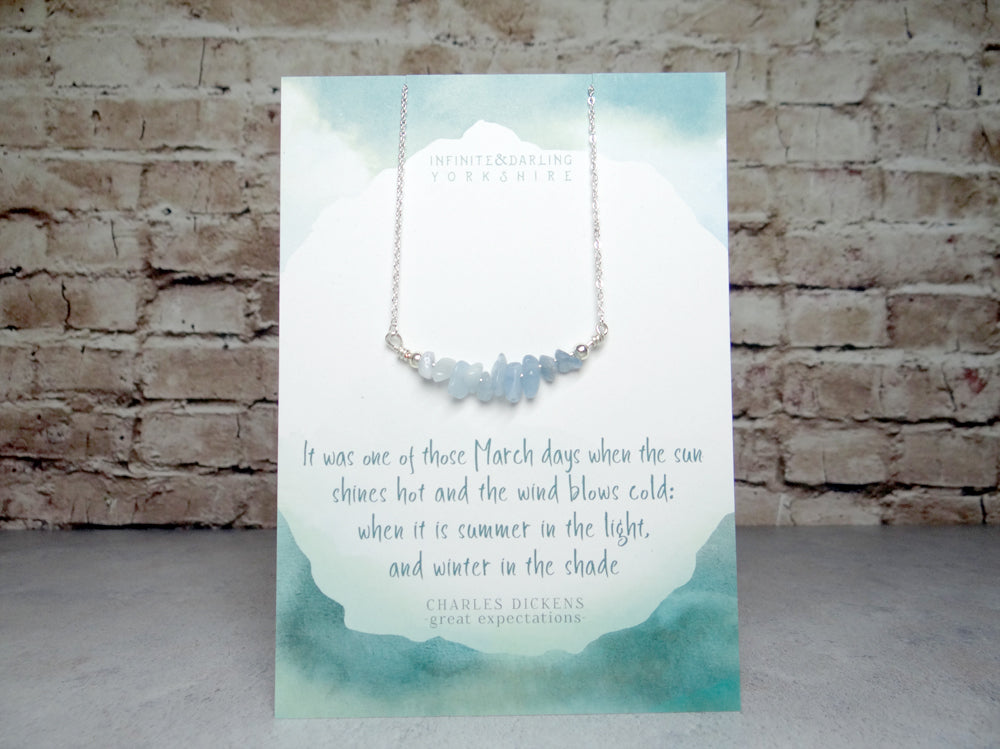March Birthstone Aquamarine Necklace