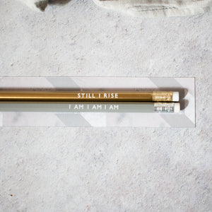 Sylvia Plath Poetry Pencil, Maya Angelou Still I Rise Poetry Pencil, Feminist Stationery