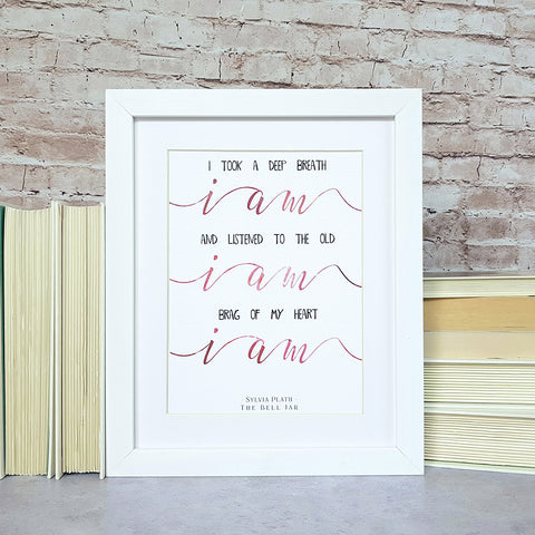 Sylvia Plath 'The Bell Jar' Book Quote Art Print