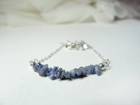 Raw Sapphire Silver Necklace - September Birthstone Jewellery Helen Hunt Jackson book lover literary gifts rough sapphire bead gifts for her