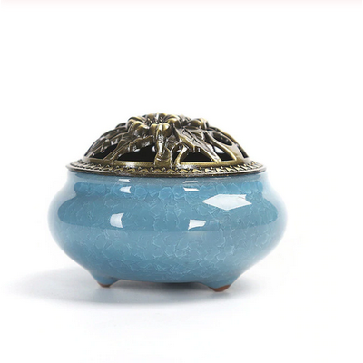 Ceramic Incense Burner - Light Blue - Ibadah London
