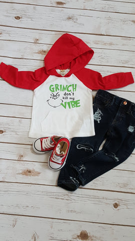 Grinch Don't Kill My Vibe Hooded Raglan - The  Little Reasons