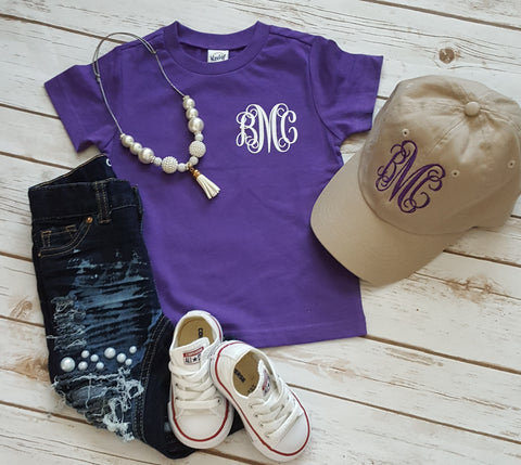 Youth Monogram Tee and Hat Bundle - The  Little Reasons