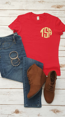 Pocket Sized Monogram Tees - Ladies - The  Little Reasons