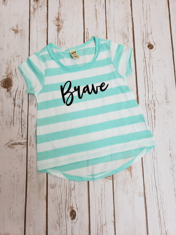 Brave Striped Hi-low Tee - 3T - The  Little Reasons