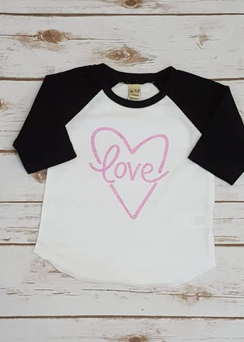 Love  with Heart Raglan - The  Little Reasons