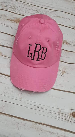 Distressed Monogram Hat - Ladies - The  Little Reasons