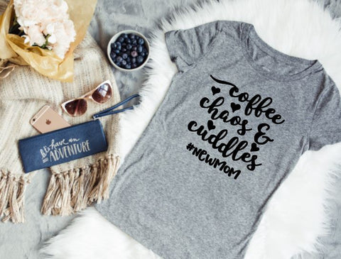 Coffee, Chaos, and cuddles- Ladies Tee - The  Little Reasons