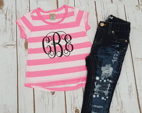 Monogram Striped High-Low Tee - The  Little Reasons