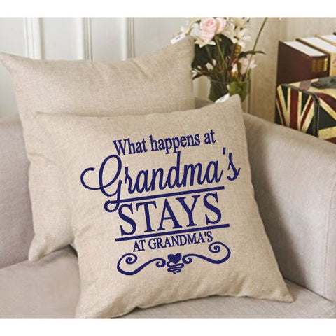 What happens at Grandma's Throw Pillow Cover - The  Little Reasons